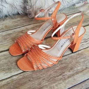 Preview Collection Orange Leather Sandals Size 7N